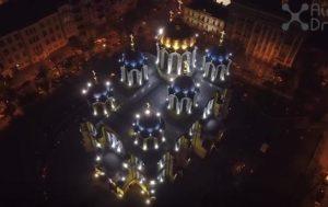 Пасхальную ночь в Киеве показали с дрона